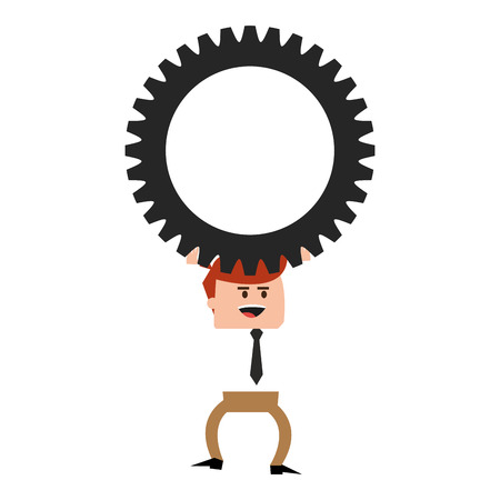 pushes: flat design businessman with gear icon vector illustration Illustration
