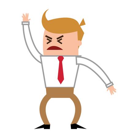yelling: flat design angry businessman yelling icon vector illustration