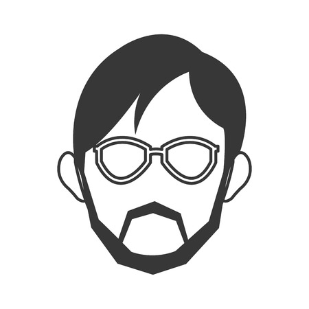 handlebar: simple flat design face of man wearing glasses and beard icon vector illustration Illustration