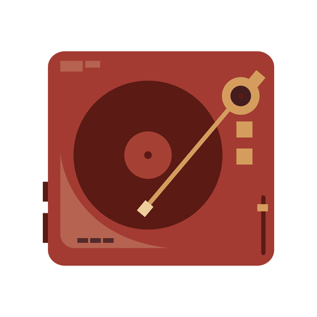 record player: flat design vinyl record player icon vector illustration