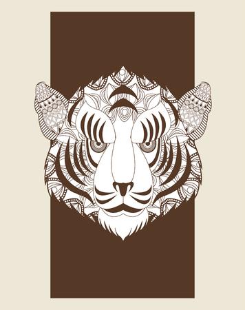 predator: Animal and Ornamental predator concept represented by tiger icon. Draw illustration. Pastel background