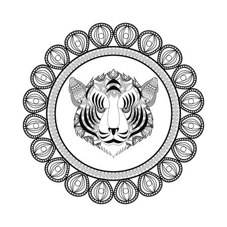 predator: Animal and Ornamental predator concept represented by tiger icon. Draw illustration. Black and White design