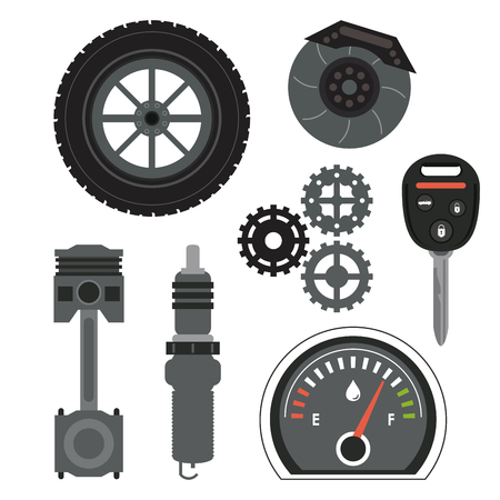 machine parts: Auto parts and transportation concept represented by machine icon set. Flat illustration