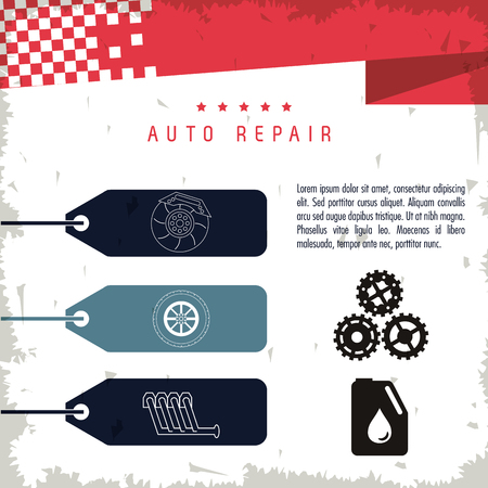 machine parts: Auto repair and transportation concept represented by machine parts icon. Grunge Background Illustration