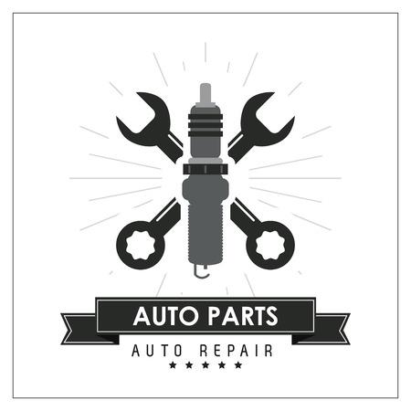 Autoteile und Transportkonzept mit Schraubenschlüssel-Symbol dargestellt. Wohnung und Rahmen Illustration