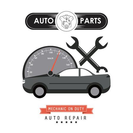 Autoteile und Transportkonzept von Kilometer und Schraubenschlüssel-Symbol dargestellt. Flache Illustration