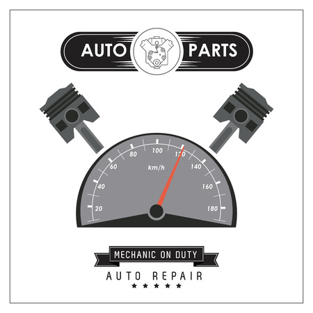 mileage: Auto parts and transportation concept represented by mileage icon. Flat and frame illustration