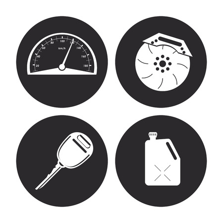 mileage: Auto parts and transportation concept represented by machine icon set. Flat illustration