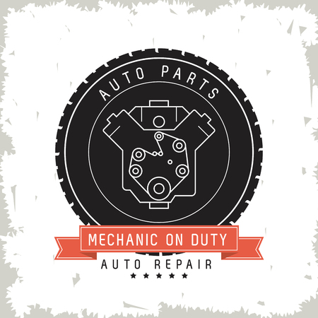 machine parts: Auto parts and transportation concept represented by machine over seal stamp icon. Grunge Background Illustration