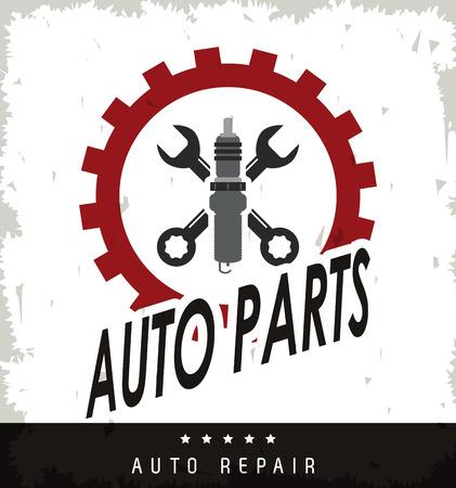 Autoteile und Transportkonzept mit Schraubenschlüssel und Maschine Symbol dargestellt. Grunge Hintergrund