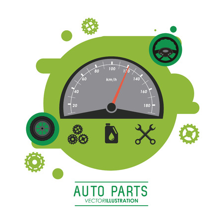 mileage: Auto parts and transportation concept represented by Mileage icon over splash shape. Flat illustration Illustration