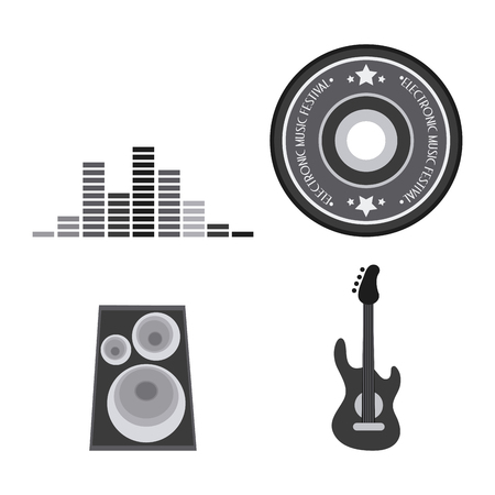 electro: Electro and Dance Party represented by icon set. Isolated and Flat illustration
