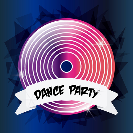 electro: Electro and Dance Party represented by pink and purple vinyl icon over polygonal background. Colorfull and Flat illustration