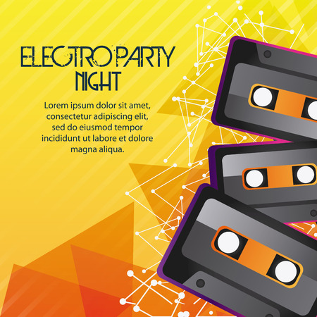electro: Electro and Dance Party represented by Cassette icon over striped background. Colorfull and Flat illustration