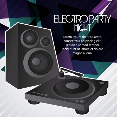 electro: Electro and Dance Party represented by speaker icon over polygonal background. Colorfull and Flat illustration