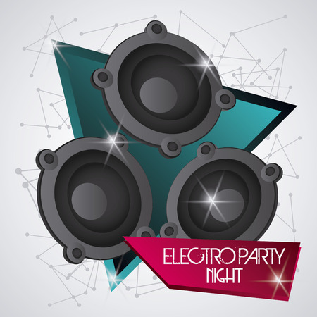 electro: Electro and Dance Party represented by speaker icon. Colorfull and Flat illustration