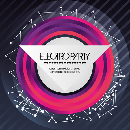 electro: Electro and Dance Party represented by circles icon over striped background. Colorfull and Flat illustration