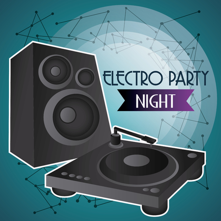 electro: Electro and Dance Party represented by speaker icon over blue background. Colorfull and Flat illustration
