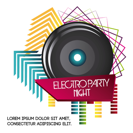 electro: Electro and Dance Party represented by speaker icon with geometry shape design. Colorfull and Flat illustration