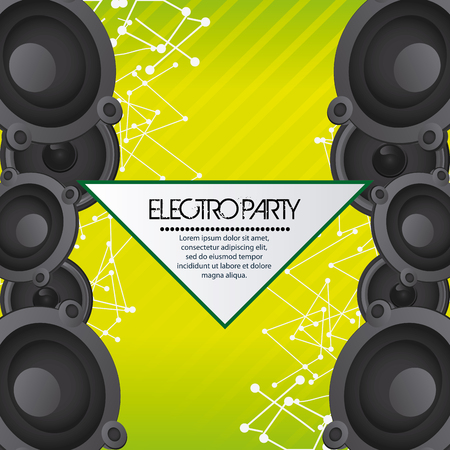 electro: Electro and Dance Party represented by speaker icon over striped background. Colorfull and Flat illustration Illustration