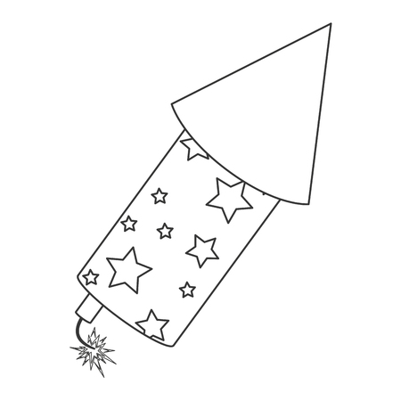 rocket fireworks fire light, line icon , isolated vector illustration Illustration