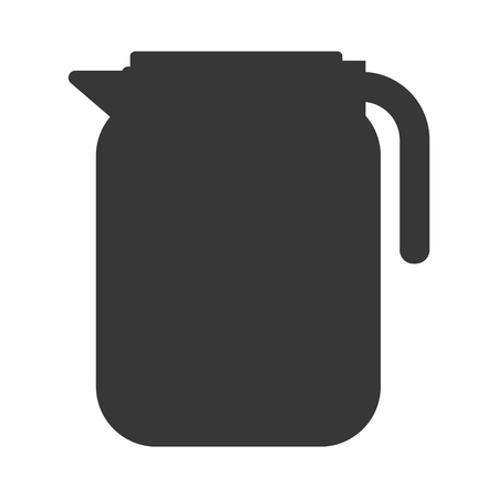 milk pail: Jar pot conatiner silhouette icon , isolated vector illustration