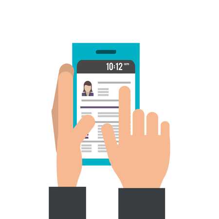 smartphone hand: Hand operating smartphone mobile isolated vector illustration