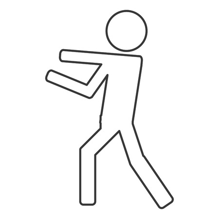 jab: Icon of person fight boxing isolated vector illustration