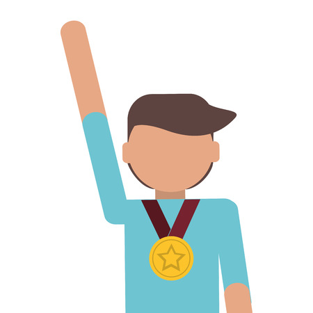 commendation: man winner medal champion award isolated vector illustration Illustration