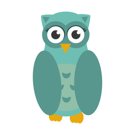 pigeon owl: cute owl animal icon isolated vector illustration