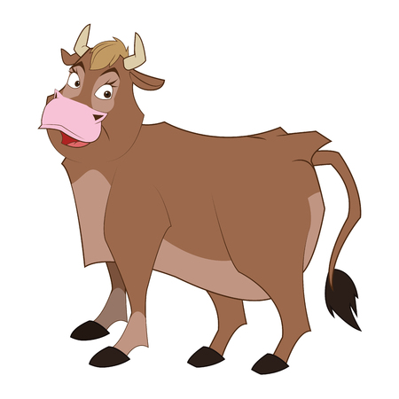 raging: simple flat design bull cartoon icon vector illustration