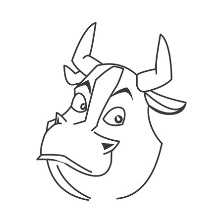 zodiac anger: simple flat design bull cartoon icon vector illustration