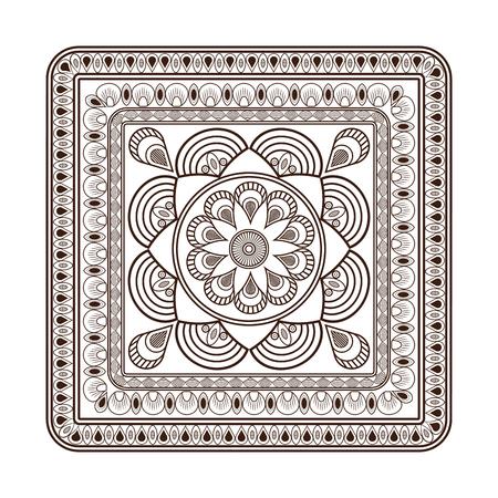 serviette: flat design squared decorative line mandala icon vector illustration