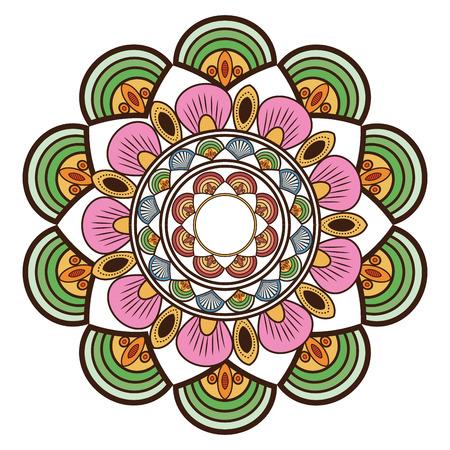 decorative line: flat design circular multicolored decorative line mandala icon vector illustration