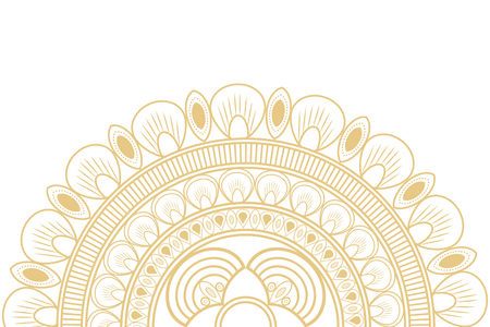 decorative line: flat design circular decorative line half mandala icon vector illustration