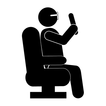 well dressed: simple flat design person sitting down pictogram icon vector illustration Illustration