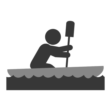 rower: simple flat design rowing person pictogram icon vector illustration Illustration