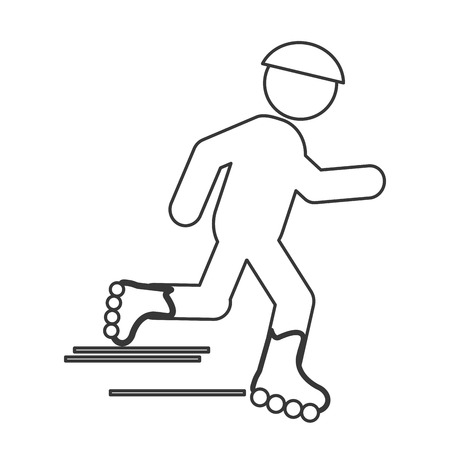 skating on thin ice: simple flat design skating person pictogram icon vector illustration Illustration