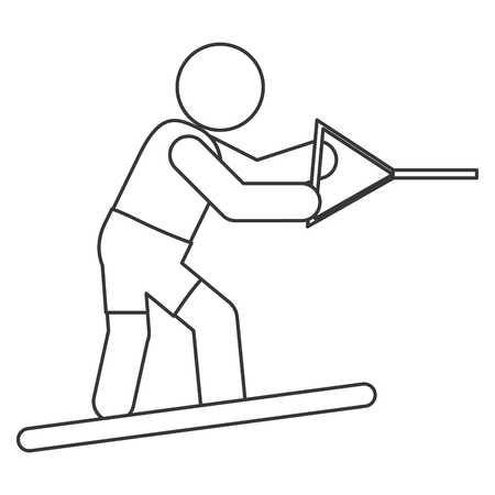 water skiing: simple flat design water skiing pictogram icon vector illustration