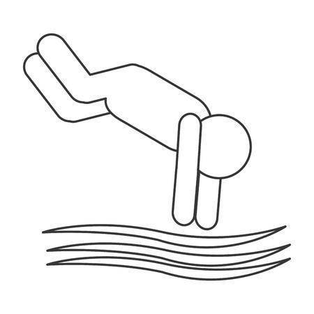 free diver: simple flat design diver pictogram icon vector illustration Illustration