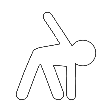 legs up: simple flat design person stretching pictogram icon vector illustration