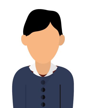 einfache flache Design gesichtslos Porträt Symbol Vektor-Illustration Frau, schwarzes Haar Vektorgrafik