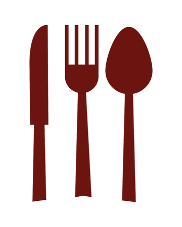 fork and spoon knife: simple flat design fork spoon knife silhouette icon vector illustration