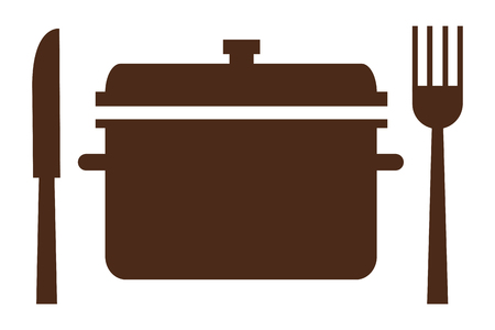 broth: simple flat design cooking pot with fork and knife icon vector illustration