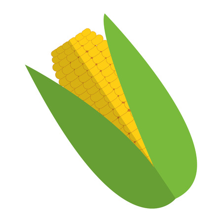 corn on the cob: simple flat design corn cob icon vector illustration Illustration