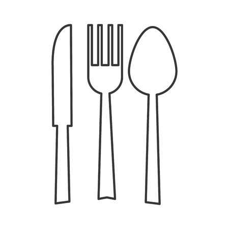fork and spoon: simple flat design fork spoon knife silhouette icon vector illustration