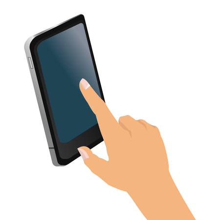 cellphone in hand: simple flat design hand holding cellphone icon vector illustration Illustration