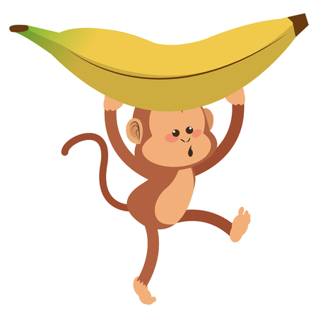 show plant: simple flat design monkey with playful face and banana cartoon icon vector illustration Illustration