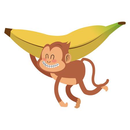 show plant: simple flat design smiling monkey cartoon icon vector illustration Illustration