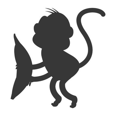 show plant: simple flat design monkey cartoon icon vector illustration silhouette